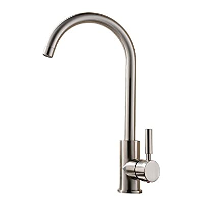 Luxice Brushed Nickel Stainless Steel Single Handle Kitchen Bar Sink Faucet, Single Lever Kitchen Faucet Mixer Taps