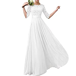 Lrady Women's Lace Chiffon A-line Long Maxi Dress Evening Wedding Bridesmaid Dress