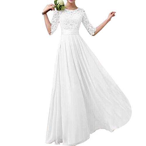 Lrady Women's Lace Splicing Chiffon Long Maxi Dress Evening Wedding Bridesmaid Gown White