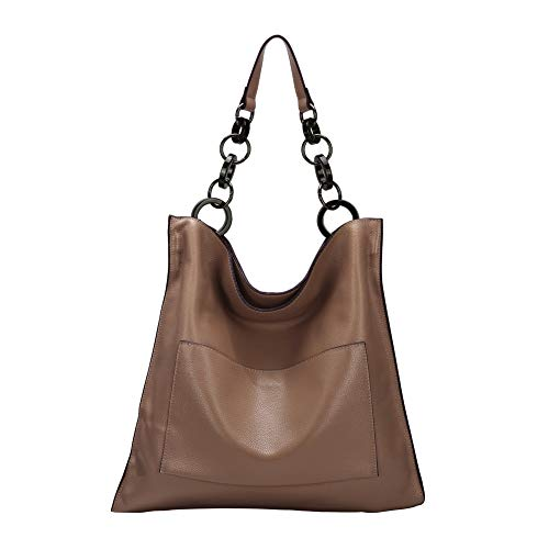 Ladies Genuine Leather Handbags and Purses Hobo Shoulder Tote Bag for Women Designer On Sale with Bucket Style (Brown)