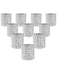 KEIVA Napkin Rings, Pack of 120 Rhinestone Napkin Rings Diamond Adornment for Place Settings, Wedding Receptions, Dinner or Holiday Parties, Family Gatherings (120, Silver)