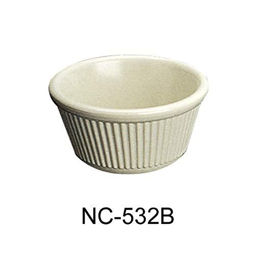 Yanco NC-532B Fluted Ramekin, 4 oz Capacity, 1.75'' Height, 3.375'' Diameter, Melamine, Bone White Color, Pack of 72