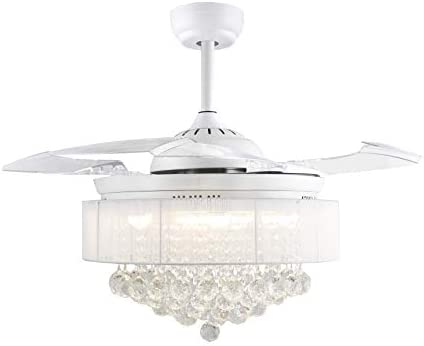 42 Inches Crystal Drum Shade Chandelier Clear Retractable Invisible Blades LED Ceiling Fan Remote Control 4000K Cool White Not Dimmable Chrome Drum Shade White Metal Finish