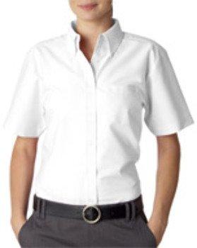 UltraClub® Ladies' Classic Wrinkle-Free Short-Sleeve Oxford - White - XL