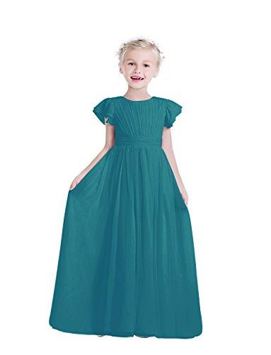 - Castle Fairy Flower Girl Dress Chiffon Flutter Sleeve Holy Communion Dress Junior Bridesmaid Dress (6, Teal)