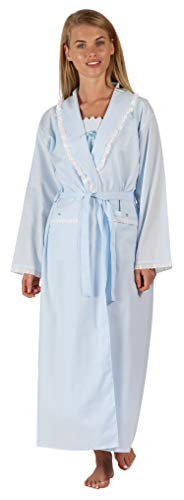 (The 1 for U Womens Robe Housecoat 100% Cotton Abigail (XS, Blue))