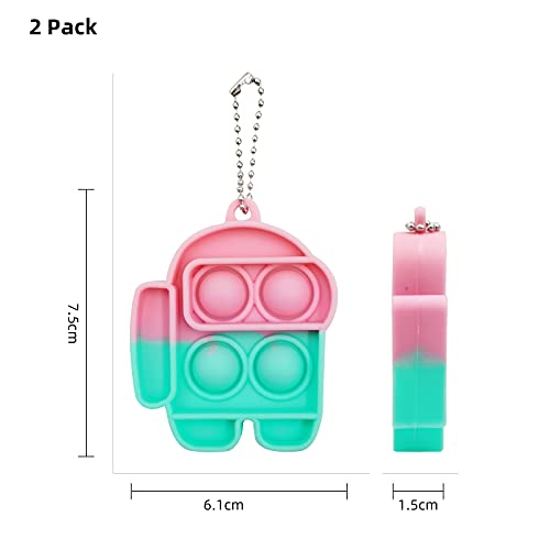 BIEZIAYA Push Pop it Fidget Toys Squeeze Sensory Toy Keychain Tools Relieve Emotional Stress Washable and Reusable Silicone Pop Toy for Kids and Adults