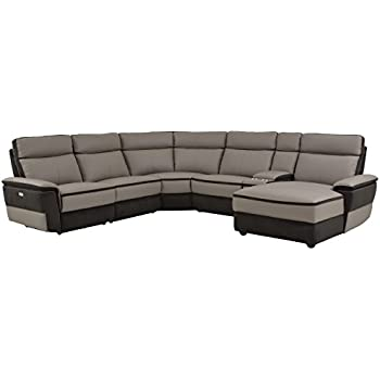 Homelegance Laertes 6 Piece Power Reclining Sectional Sofa with Right Side Chaise and Cup Holder Console Top Grain Leather Fabric Matched, Gray