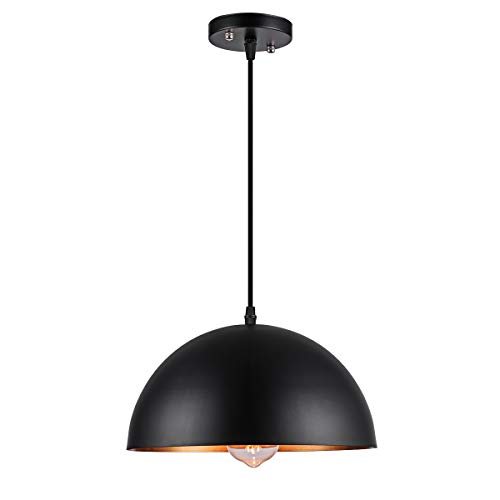 Metal Industrial Pendant Light Dome Retro Matte Black Farmhouse Pendant Lighting for Kitchen Island Dining Room -