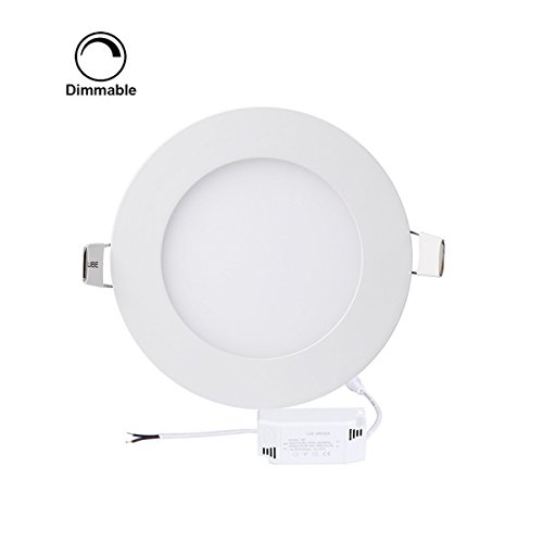 ProGreen 12W Flat LED Panel Light Lamp, Dimmable Round Ultrathin LED Recessed Downlight, 960lm, Warm White 3000K, Cut Hole 6.1 Inch, Panel Ceiling Lighting with 110V LED Driver ()