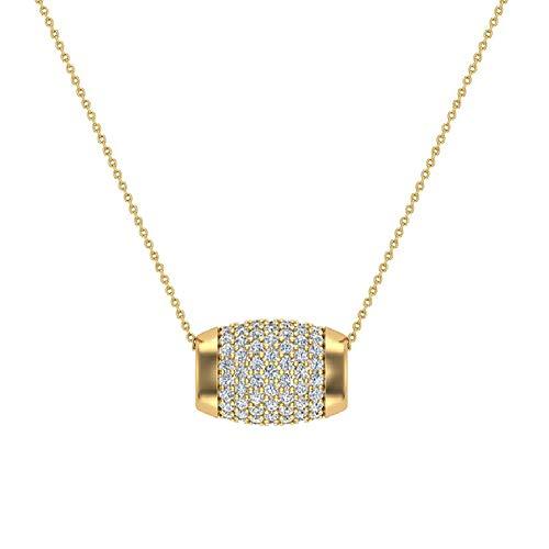 14K Yellow Gold Barrel Shape Charm Pendant Pavé Diamonds Eternity 1.17 Carat Total Weight