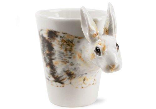 Rabbit 8oz White And Brown Handmade Coffee Mug (10cm x 8cm)