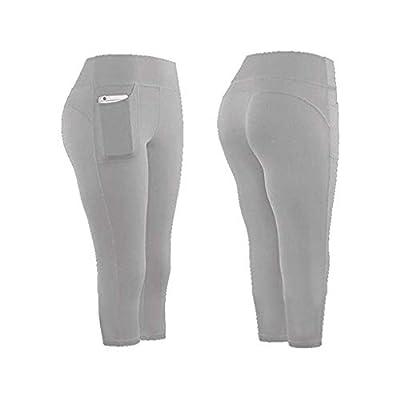 Briskorry High Waist Yoga Pants with Pockets Tummy Control Yoga Capris for Women Stretch Capri Leggings Cropped Tights: Clothing