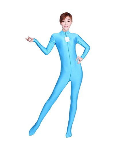 [WOLF UNITARD Long Sleeve Bodysuit for Adult and Child Small Sky Blue] (Flesh Colored Bodysuit)