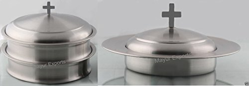 2 Communion Trays (for Glasses) with Lid and 1 Communion Tray(for Bread) with Lid- Stainless Steel