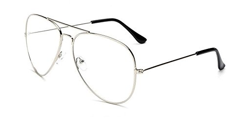 ce2ce068202 Thewhoop Night Vision Aviator Unisex Eyeglasses Full Rim Spectacle Frame  (Silver)