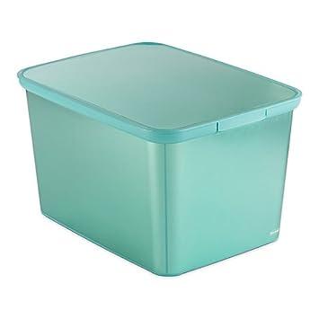 large plastic totes. Curver Large Plastic Metallic Storage Tote With Lid In Aqua Totes E