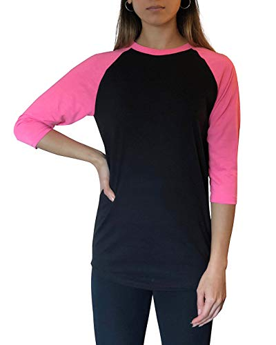 - ILTEX Raglan T-Shirt 3/4 Sleeve Athletic Baseball Jersey Unisex (30+) (Black/Neon-Pink, Small)