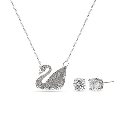 MYKEA Elegant Crystal Swan Jewelry Set - 14K White Gold Plated Crystal Swan Pendant Necklace with Round Cubic Zirconia Earrings for Women Girls