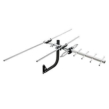 1byone 45 Miles Digital Attic / Outdoor HDTV Antenna with Extremely High Performance for UHF / VHF and Included Mounting Pole