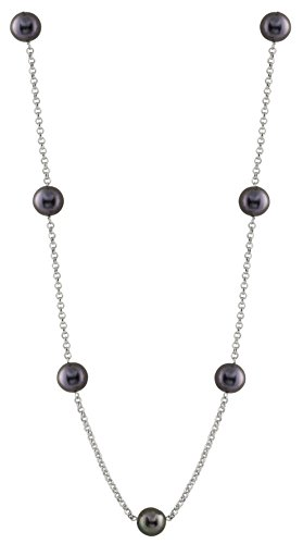 Splendid Pearls Handpicked AA 8-9mm Black Freshwater Cultured Pearl Rhodium-Plated Sterling Silver Rolo Tin Cup 7 Stations Matinee Necklace - Station Black Pearl Bracelet
