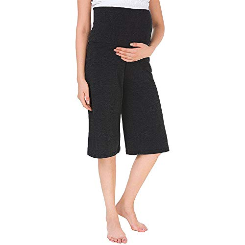 YoungMom Maternity Pants for Women Comfy High Waist Loose Shorts Capri Pajama Pants(XL,Black)