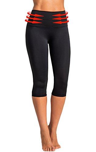 Gwinner Womens High Waist Yoga Capri Leggings Tummy Control Anti-Cellulite/CLIMAline+, Algae, Ginkago Biloba, Gotukola