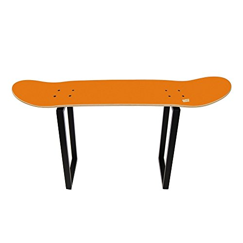 Shoe bench organizing entryway storage for Adult and Child skateboarders - Gift for sport fan - Skate bench orange by SKATE HOME