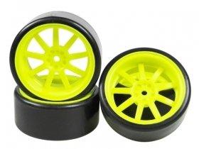 3Racing #3R/WH-24/FY 1/10 9 Spoke Wheel & Tyre Set For Drift (5mm Offset) - 4pcs for 3Racing Sakura D3 CS Sport, 2012 NISSAN GTR