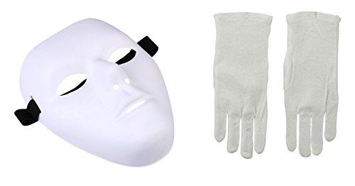 Thick Purge Blank Male Mask and White Gloves Phantom Jabbawockeez Costume Kit