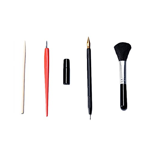 Gosear Scratch Art Tools, 5 PCS Painting Drawing Arts Tools Set Including Stick Scraper Repair Fluid Scratch Pen Black Brush For Scratch Sketch Art Painting Papers Sheets ()