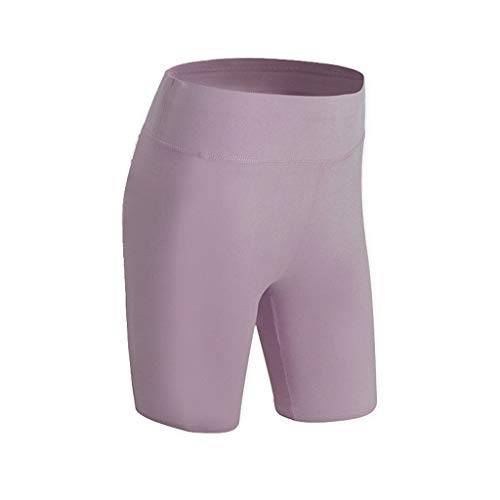SPORTTIN High Waist Yoga Short Tummy Control Workout Running Compression Active Bike Shorts(Purple,US Size S = Tag M)