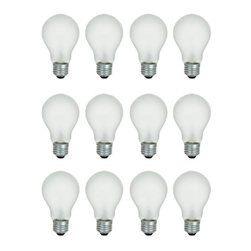 - A19 Frosted Incandescent Rough Service Light Bulb, 60 Watt, Long Life - 10,000 Hours, 2700K Soft White, E26 Medium Base, 480 Lumens, 130V (12 Pack)