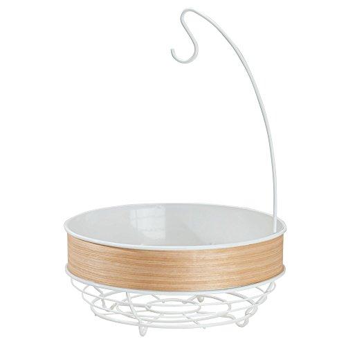 InterDesign RealWood Kitchen Fruit Tree Bowl with Banana Hanger - White/Light Wood Finish (And Banana Bowl Tree Fruit)
