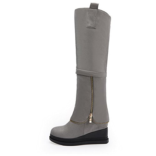 Allhqfashion Women's Kitten Heels Frosted High-top Solid Pull-on Boots Gray XCq4f
