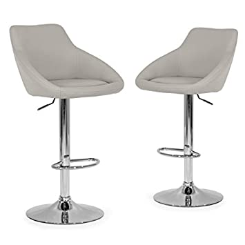 Glamour Home D cor Set of 2 Alani Ashy Grey Adjustable Height Swivel Barstool in Faux Leather