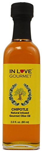 Infused Chipotle - In Love Gourmet Chipotle Natural Flavor Infused Olive Oil 60ML/2oz (Sample Size) Smokey Chipotle Pepper Flavored Pure Olive Oil