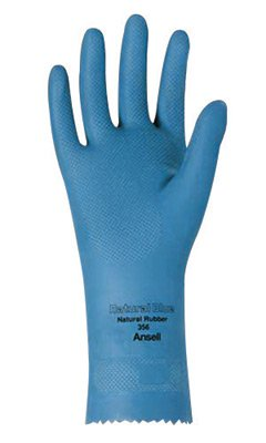 Ansell Size 8 Sky Blue Natural Blue 12'' 17 mil Unsupported Natural Rubber Latex Light Duty Chemical Resistant Gloves With Fishscale Grip Finish And Pinked Cuff