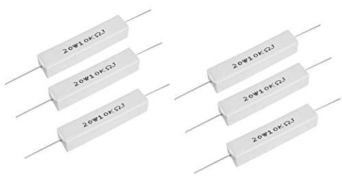 YXQ 20Watt 10k Ohm 5% Winding Ceramic Cement Power Resistor 6Pcs(20W - 20 Ohm Watt Resistor Power