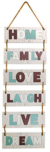 Excello Global Products Large Hanging Wall Sign: Rustic Wooden Decor (Family, Home, Love, Laugh, Live, Dream) Hanging Wood Wall Decoration (11.75