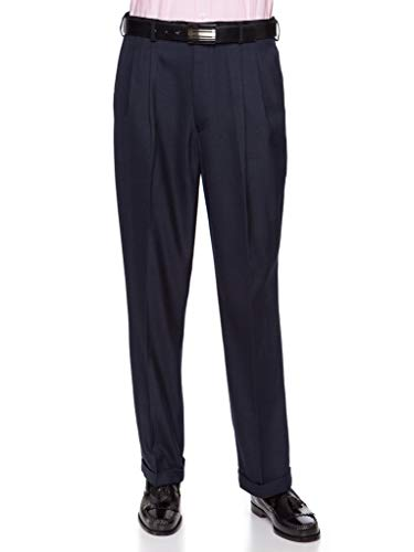 (GIOVANNI UOMO Mens Pleated Front Dress Pants with Hidden Expandable Waist Navy-34 Short)