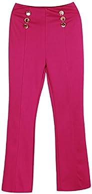 Fashion Story Womens High-waisted Wide Leg Elegant Button Design Pants