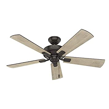 Hunter Indoor Ceiling Fan, with pull chain control – Crestfield 52 inch, Nobel Bronze, 54205