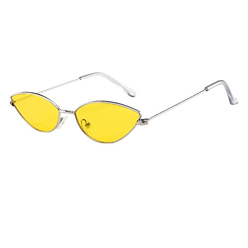 YEZIJIN Mens Womens Small Frame Cat Eye Oval Retro Vintage Sunglasses Eyeglasses
