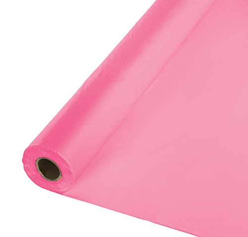 Creative Converting 100' Roll Plastic Table Cover, Candy Pink ()