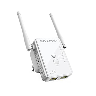 WiFi Repeater,LB-LINK WiFi Range Extender 300 Mbps Wireless Repeater + Access Point + Router with Dual Band Antennas for 360 Degree WiFi Full Coverage White