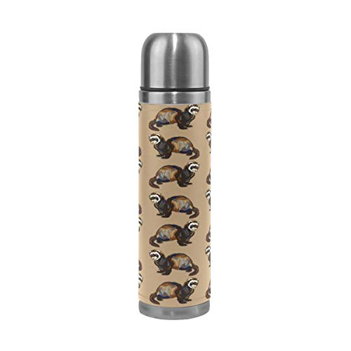 Stainless Steel Water Bottle Leak-Proof Vacuum Insulated Flask Pot,Adorable Hairy Ferret Sport Double Wall Water Bottle PU Leather Travel Thermal Mug 17 -