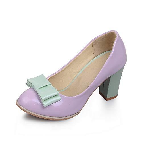 BalaMasa Womens Assorted Colors Bows Baguette-Style Urethane Pumps Shoes APL10384 Purple