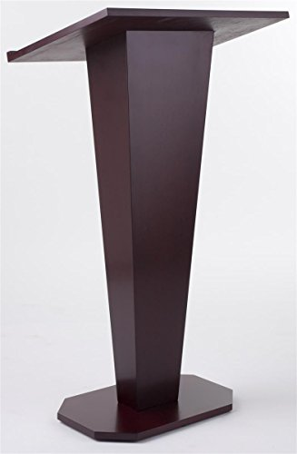 Displays2go Floor Podium with Wood Grain Style, V-Shape with Tilted Lectern Surface, Mahogany (LCTDIARM) by Displays2go