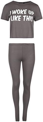 Fashion Star Women Crop Top Leggings Sleepwear PJ CO-Ord Set